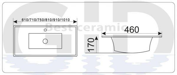 Керамическая раковина 9060E