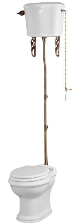 Унитаз с высоким бачком Migliore Impero, фурнитура бронза