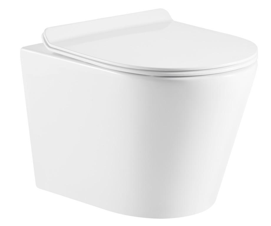 Унитаз Esbano Merida 35.5 x 51.5 x 36.5 см подвесной, безободковый, крышка-сиденье Soft Close, белый