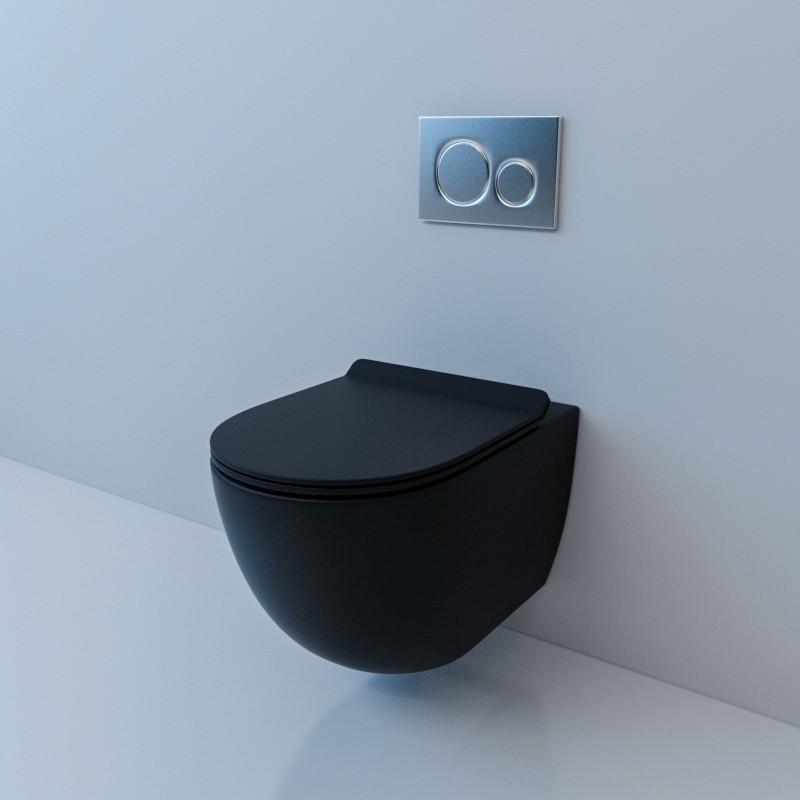 Унитаз Esbano Gardena 37 x 48 x 37 см подвесной, безободковый, крышка-сиденье Soft Close, черный матовый