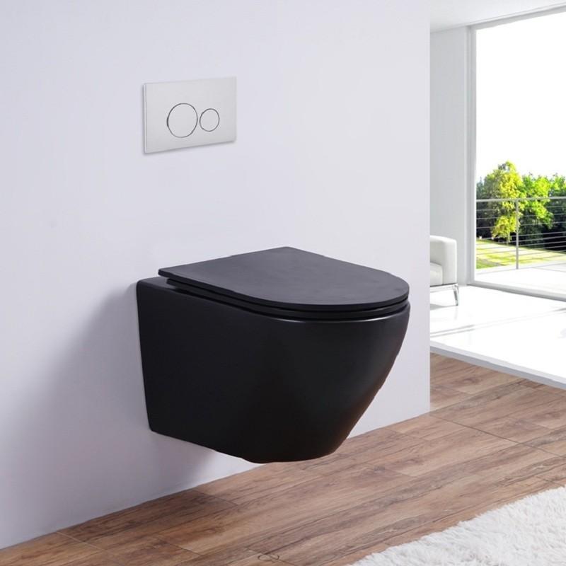 Унитаз Esbano Azalea 36,5 x 49 x 37 см подвесной, безободковый, крышка-сиденье Soft Close, черный матовый