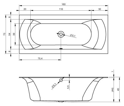 Акриловая ванна Riho Linares 160x70 BT4200500000000, правая