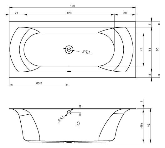Акриловая ванна Riho Linares 180x80 BT4600500000000, правая