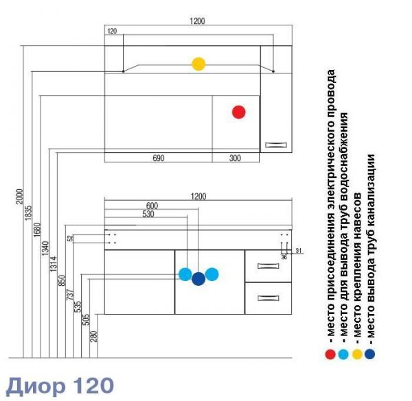 Тумба под раковину Акватон ДИОР 120, 1A110601DR010, белый