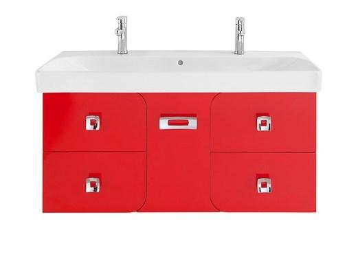 Тумба с раковиной Vod-ok Астрид 120 с 5 ящиками, цвет красный