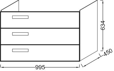 Тумба для раковины Jacob Delafon Rythmik 100 см, EB1310-E70 цвет Арлингтонгский Дуб