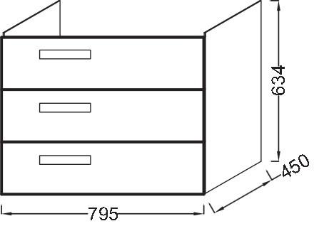 Тумба для раковины Jacob Delafon Rythmik 80 см, EB1309-E10 цвет Квебекский Дуб