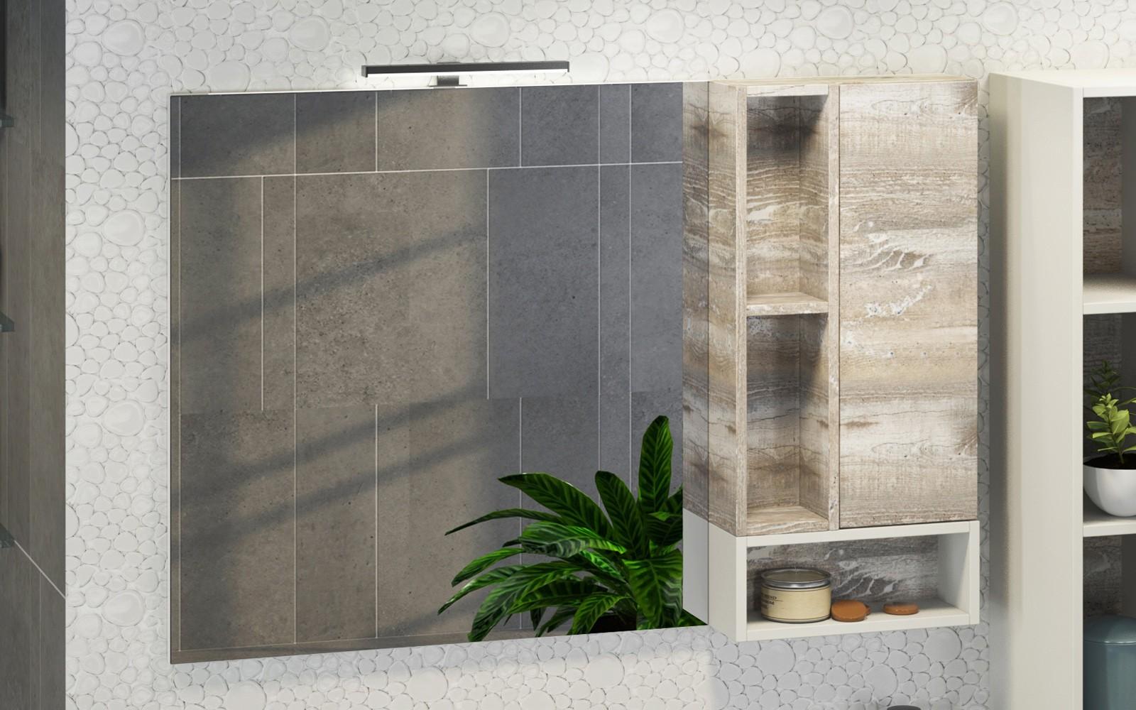 Зеркальный шкаф Comfortу Турин-120 дуб бежевый