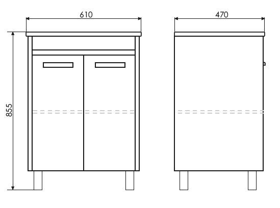 Тумба Comforty Тулуза 60Д белый глянец/сосна лоредо с раковиной Quadro 60