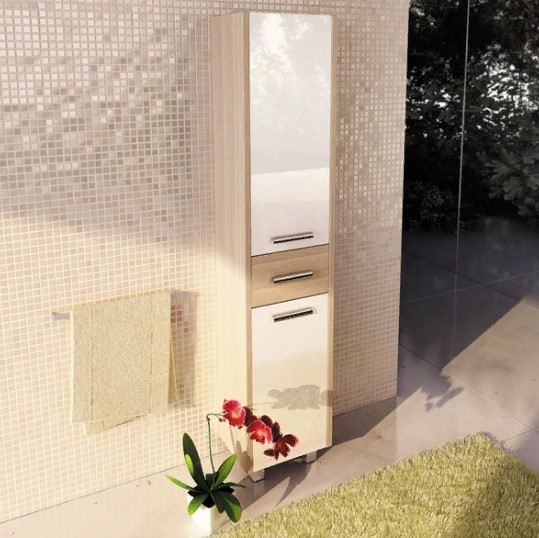 Пенал Comforty Тулуза 40 R белый глянец/сосна лоредо
