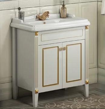 Тумба Comforty Палермо 80 белый глянец/патина золото с раковиной Comforty 3380