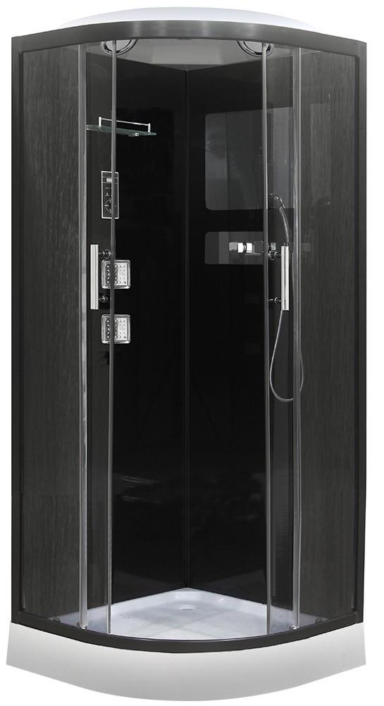 Душевая кабина Niagara NG-1702B, четверть круга, задняя стенка - черная, 100 x 100 см