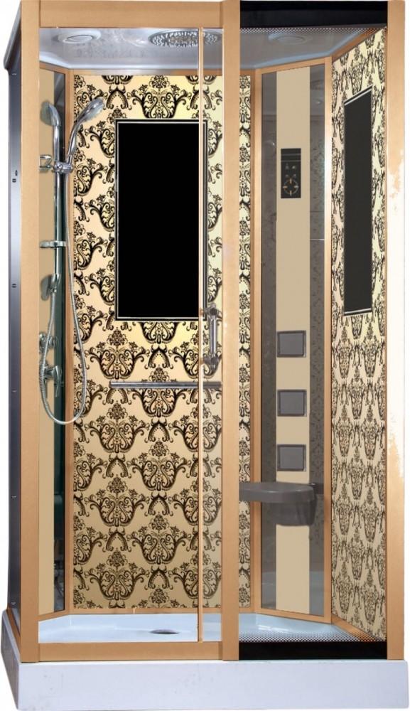 Душевая кабина Niagara NG-7711GR, 120 x 90 см с гидромассажем, стенки золото, правая