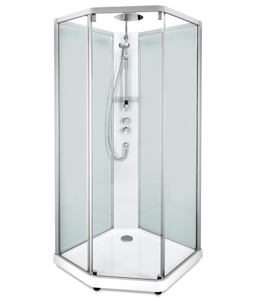 Душевая кабина IDO Showerama 10-5 Comfort 558.202.304, 90 x 90 см, стекло прозрачное, задние стенки матовые, профиль алюминий