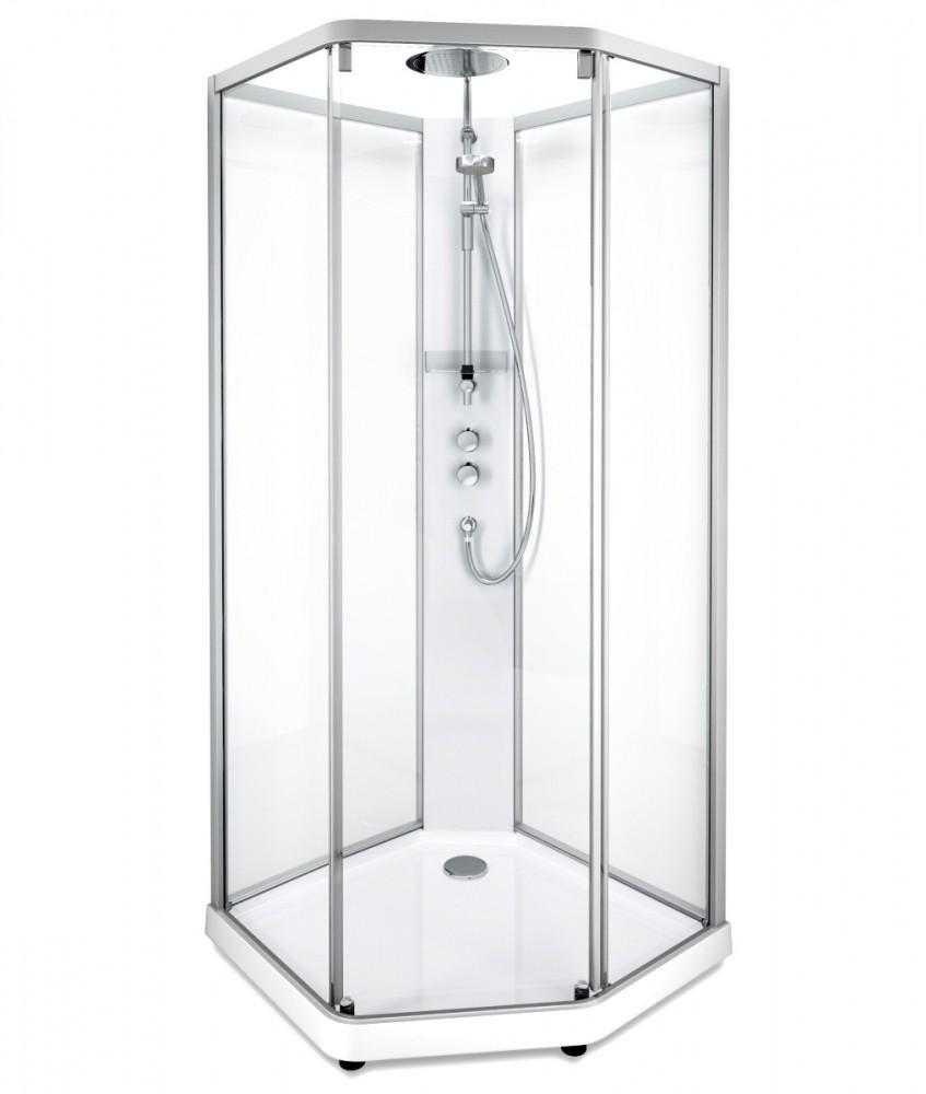 Душевая кабина IDO Showerama 10-5 Comfort 558.204.306, 90 x 80 см, стекло прозрачное, задние стенки прозрачные, профиль аллюминий