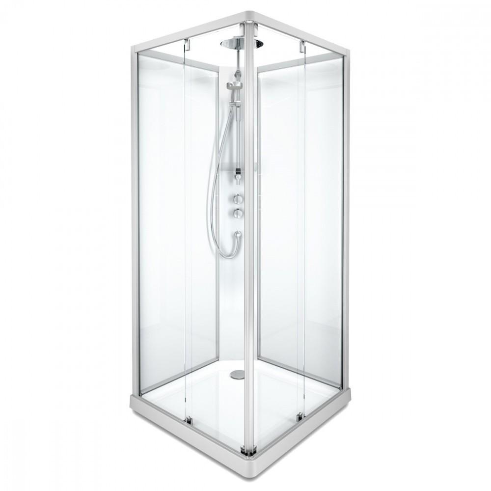 Душевая кабина IDO Showerama 10-5 Comfort квадратная, 90 x 90 см, профиль алюминий, стекло прозрачное/задние стенки - стекло матовое