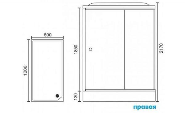 Душевая кабина RoyalBath RB8120HP6-WT-CH-L/R 120 x 80 см, дверь прозрачная, задние стенки белые