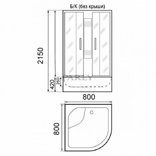 Душевая кабина Parly EB80, 80 x 80 см