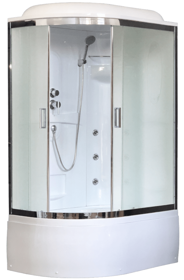 Душевая кабина Royal Bath RB8120BK2-M-CH 120 x 80 x 217 см L/R, двери матовые, задние стенки белые, хром