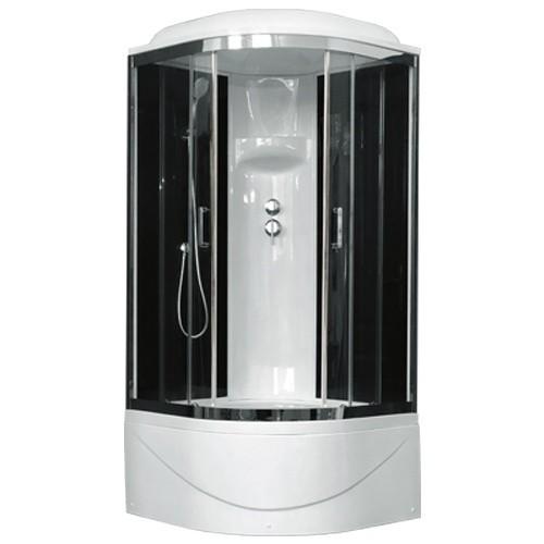 Душевая кабина Royal Bath RB100BK6-BT-CH 100 x 100 см, двери прозрачные, задние стенки черные, хром