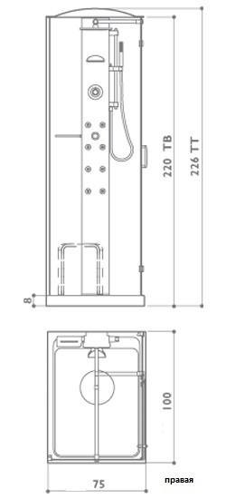 Душевая кабина Jacuzzi Play 100 х 75 см