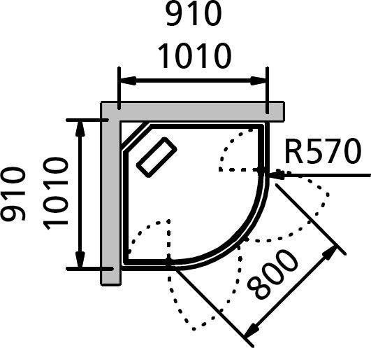Душевая кабина INR Bric 4 64032299, прозрачное/матовое стекло, 91 x 91 см