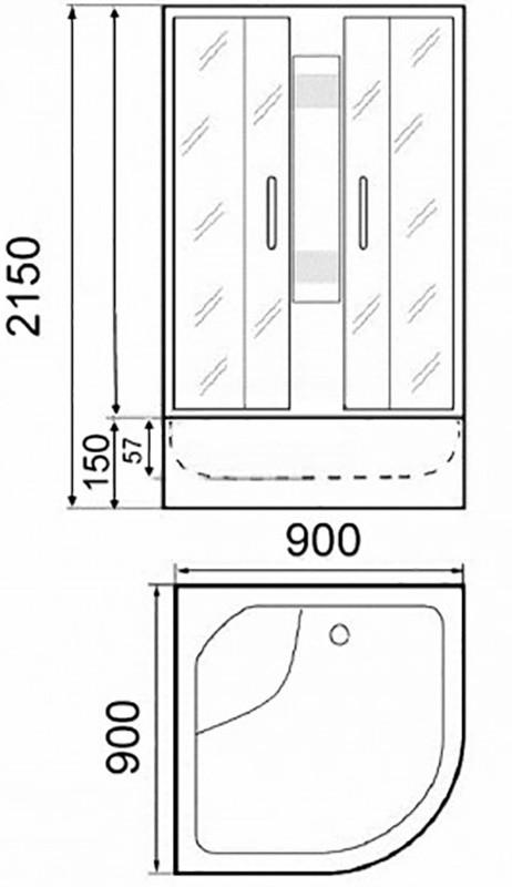 Душевая кабина Parly, B92 с матовыми передними стеклами, 90 x 90 см
