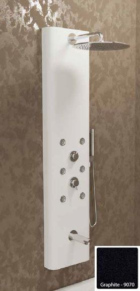 Душевая панель с гидромассажем Kolpa-San Kerrock City 4F, цвет - Graphite-9070 (черный), с изливом для ванны