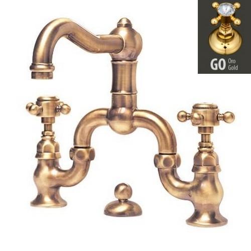 Смеситель Nicolazzi Dames Anglaises 1419GO70 для раковины, золото, ручки Half Dome