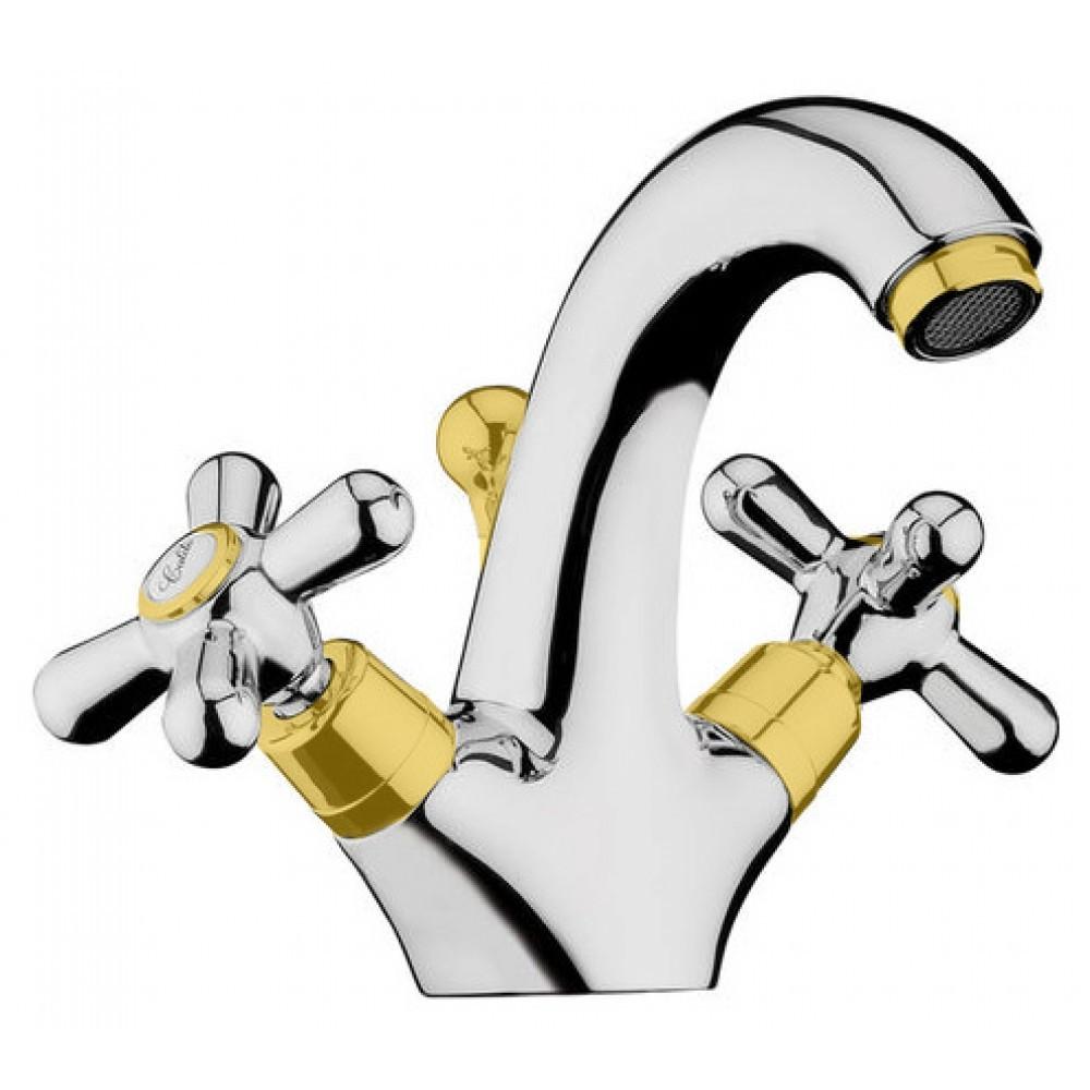 Смеситель Webert Armony AM700102017 для раковины, с донным клапаном, хром/золото