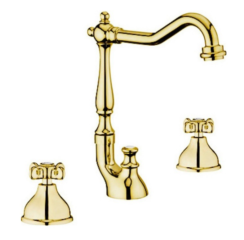 Смеситель Webert Ottocento OT750202010 для раковины, на 3 отверстия, золото