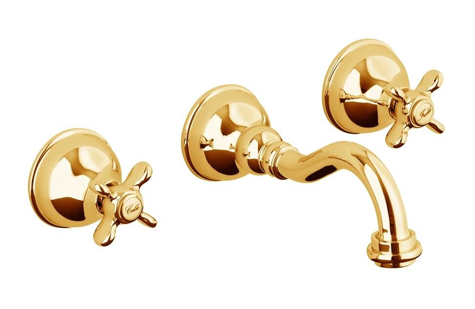 Смеситель Webert Ottocento OT750404010 для раковины настенный, на 3 отверстия, золото