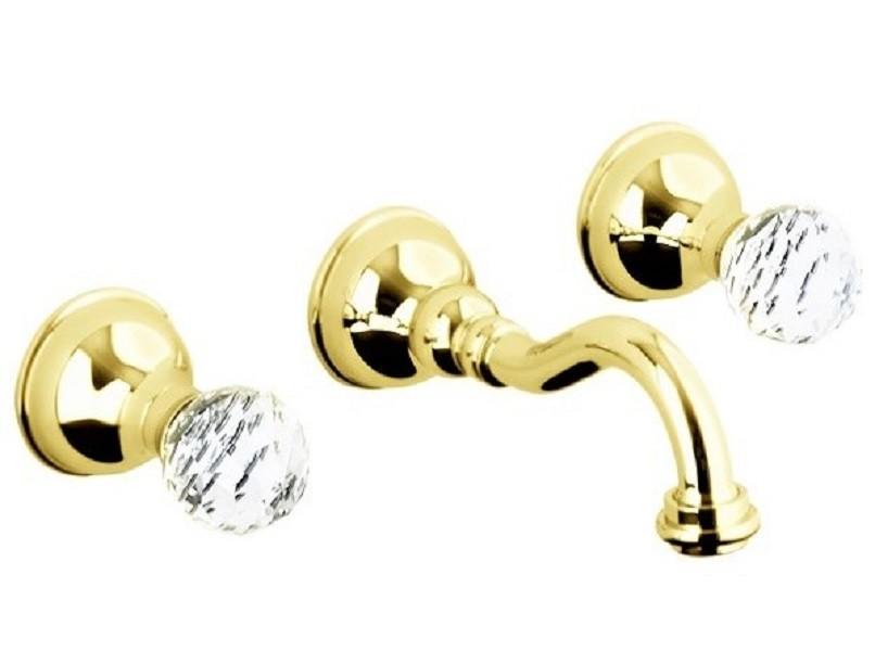 Смеситель Webert Karenina KA750404010 для раковины, на 3 отверстия, настенный, золото