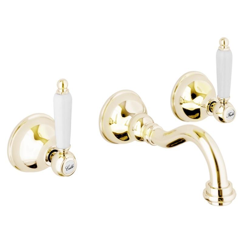 Смеситель Webert Dorian DO750404010 для раковины, на 3 отверстия, настенный, золото