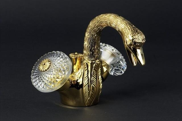 Смеситель для биде Cristal-et-Bronze Cygne Aile, 25090-15 , на 1 отверстие, с донным клапаном