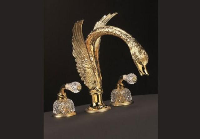 Смеситель для раковины Cristal-et-Bronze Cygne Aile Flamant, 25011-39, на 3 отверстия, с донным клапаном
