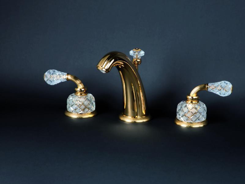Смеситель для раковины Cristal-et-Bronze Millesime Dome Manettes, 25431-52, на 3 отверстия, с донным клапаном