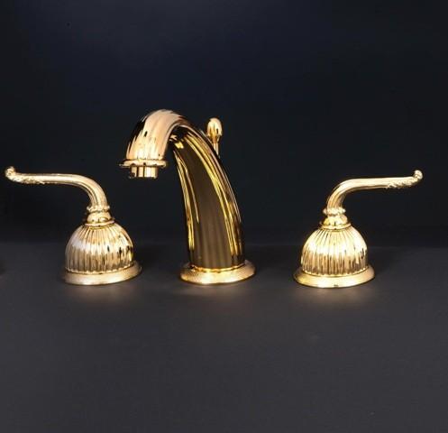 Смеситель для раковины Cristal-et-Bronze Saint-Honore, 25821-71, на 3 отверстия, с донным клапаном