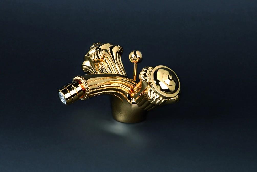 Смеситель для биде Cristal-et-Bronze Versailles Boutons, 25527-60, на 1 отверстие, с донным клапаном и поворотным распылителем