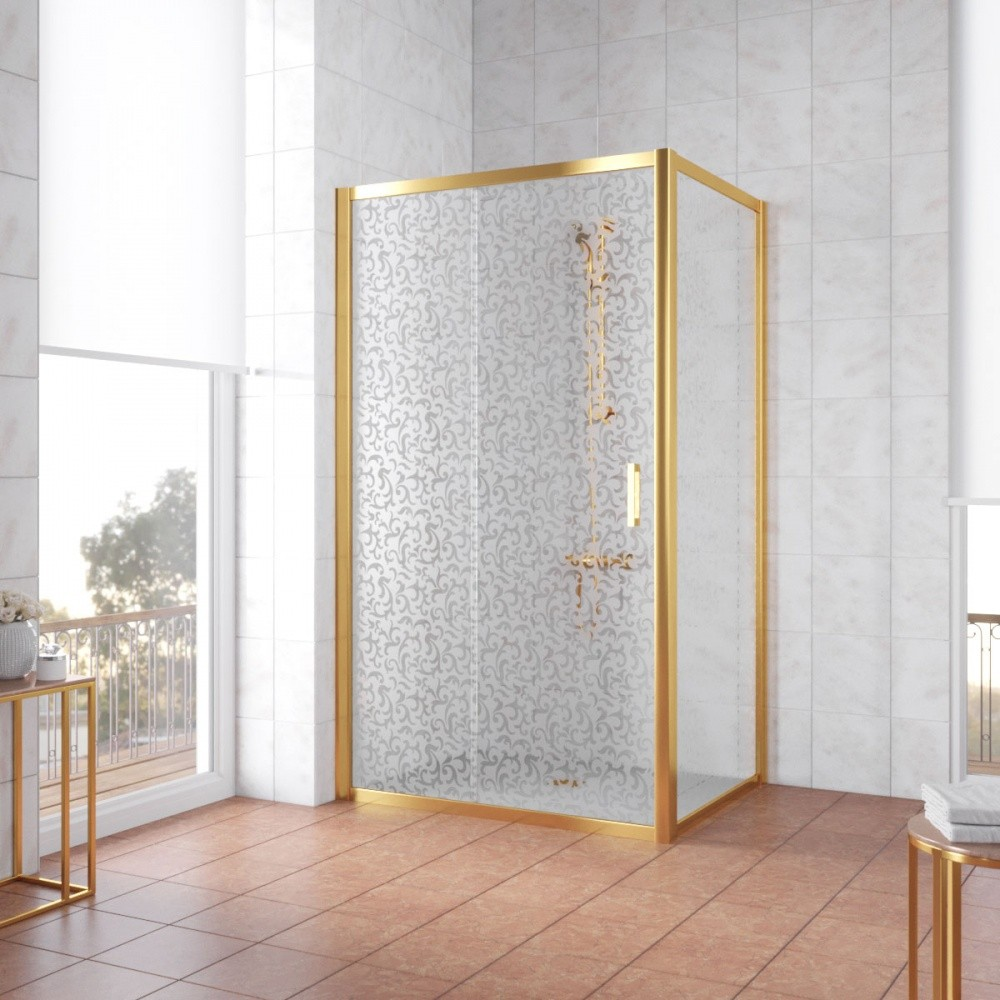 Душевой уголок Vegas Glass ZP+ZPV, 100 x 70 x 190 см, профиль золото, стекло фея