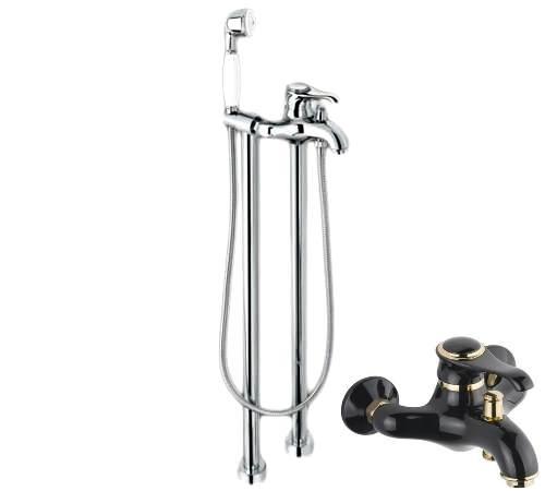 Смеситель для ванны и душа Emmevi Tiffany 600128NO, черный/золото